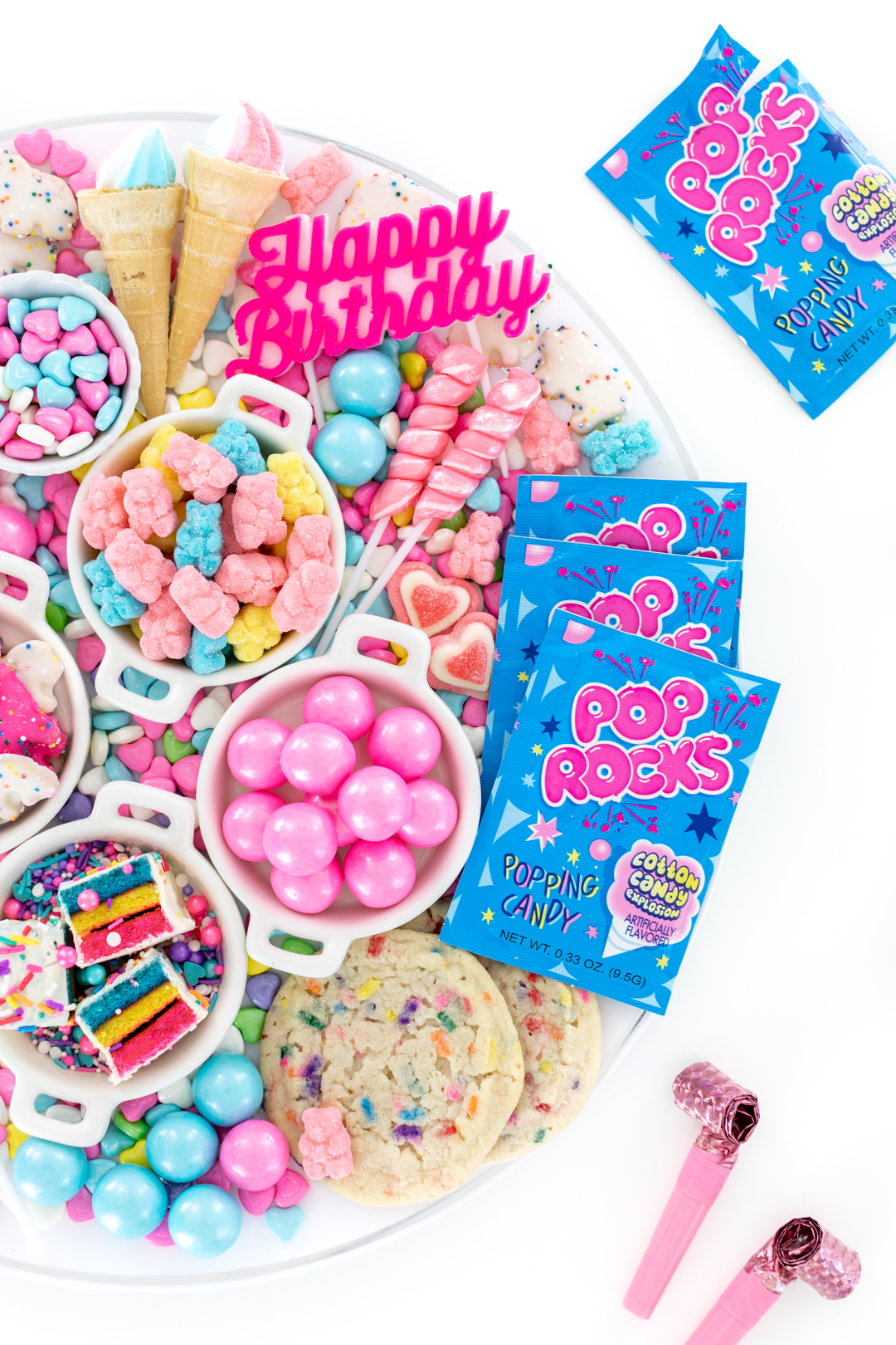 Tray of candies with Cotton Candy Pop Rocks