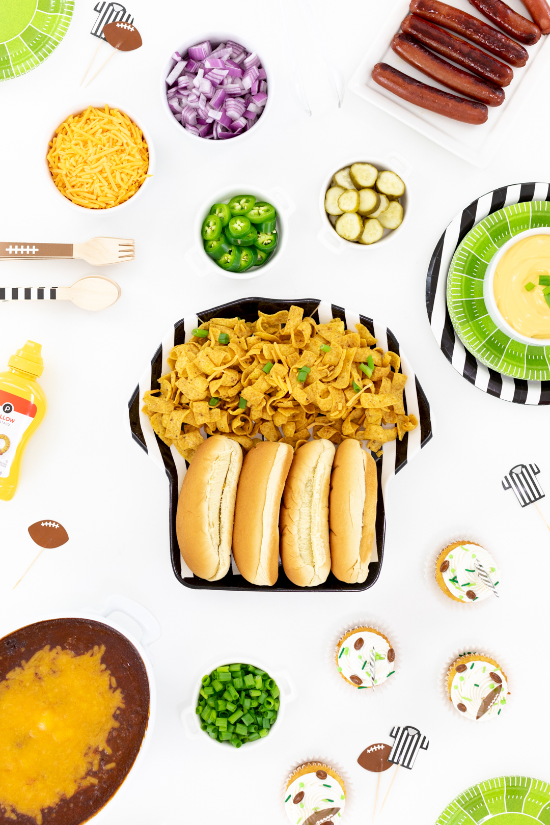 football party table with chili dog fixings