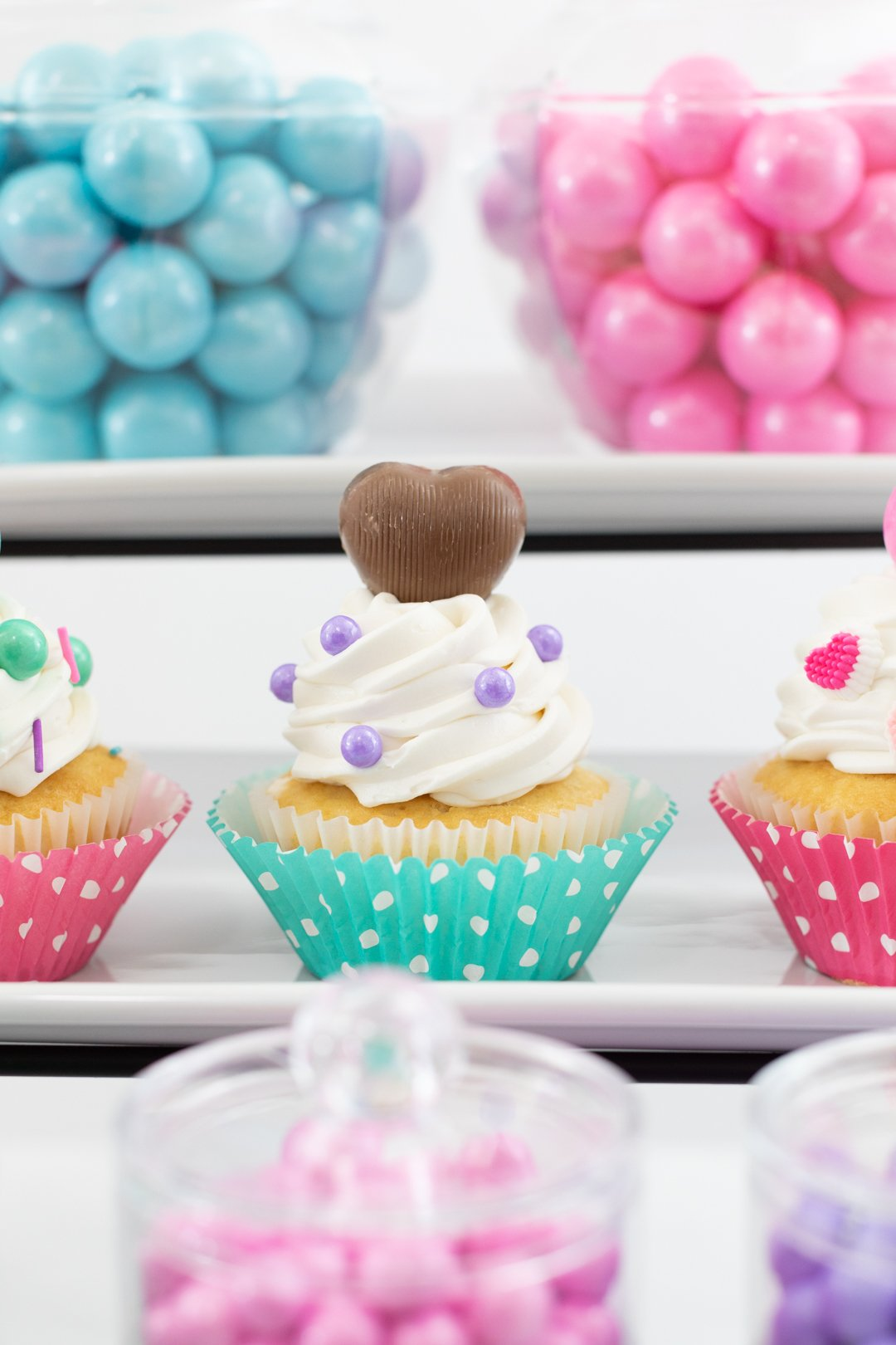 cupcake with chocolate heart on top