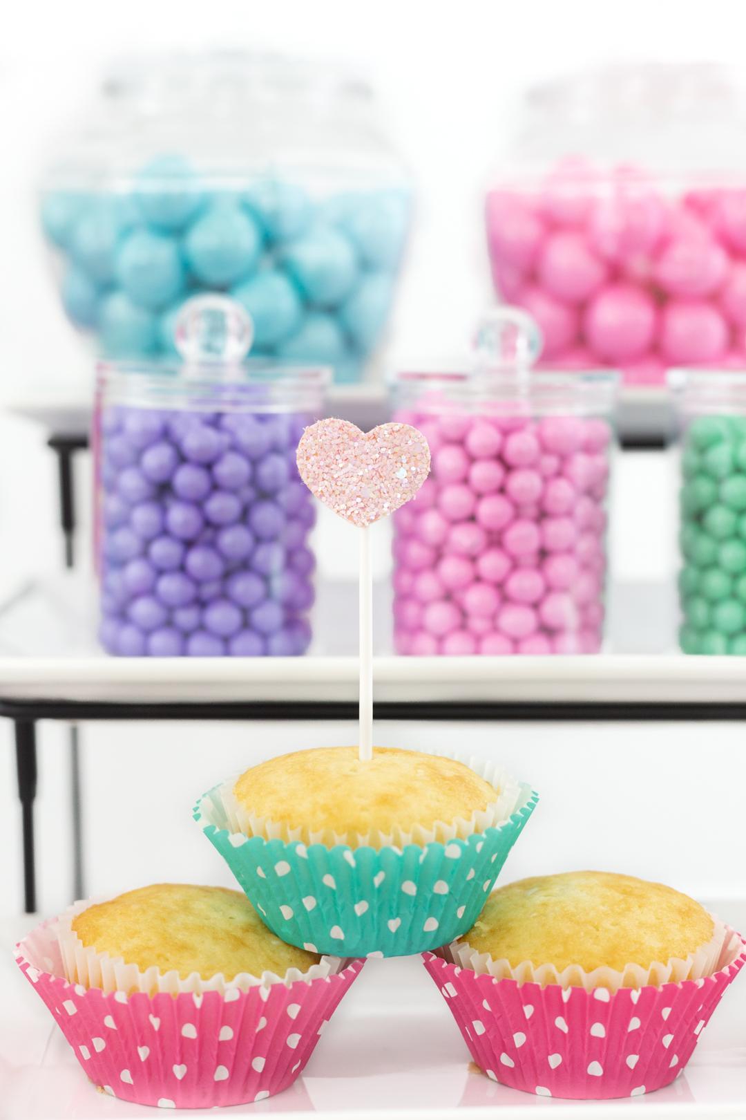 cupcake bar with pastel candies
