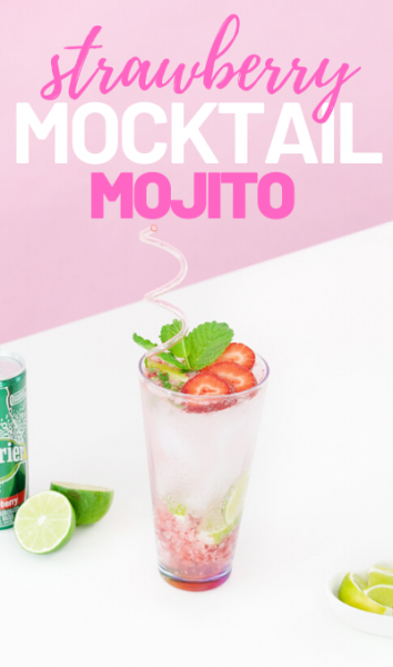 Easy strawberry mojito mocktail with sparkling water, fresh mint, frozen strawberries and fresh lime.