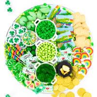 pretty tray chocolate coins, green candies and cute leprechaun candies