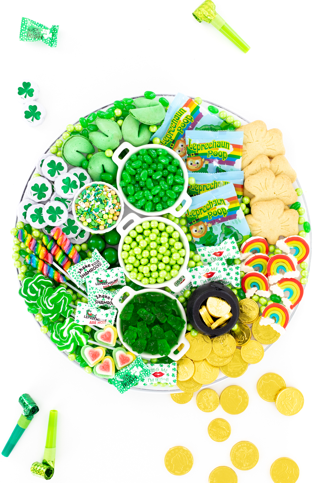 pretty tray chocolate coins, green candies and cute leprechaun candies