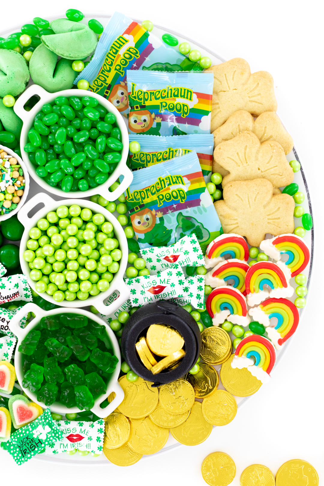 candy tray with leprechaun poop candy, shamrock cookies and more.