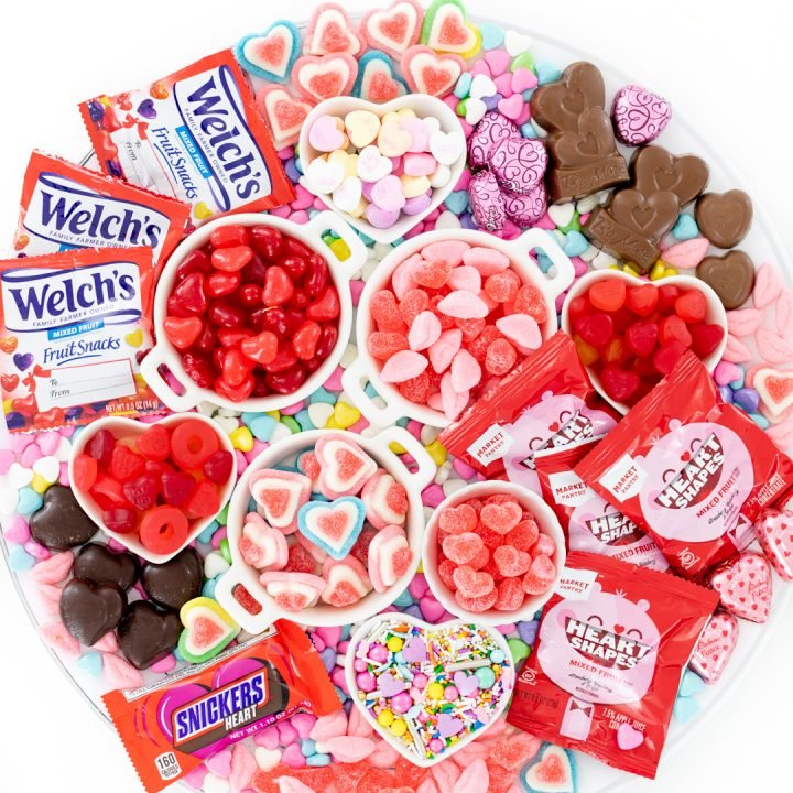 candy board with all heart candy