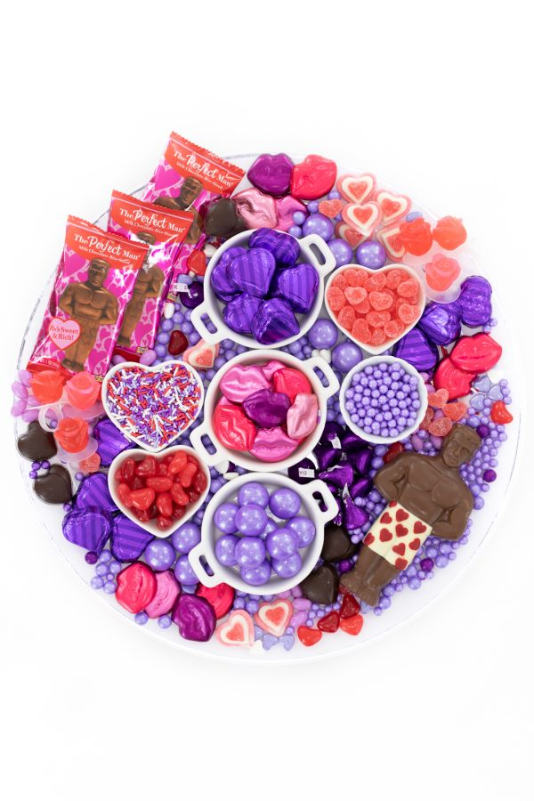 Pretty candy tray for galentine's day
