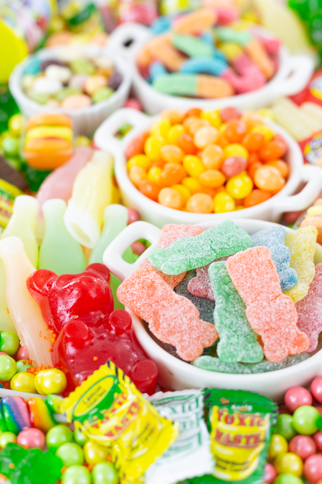 cutest big gummy bear and toxic waste candy