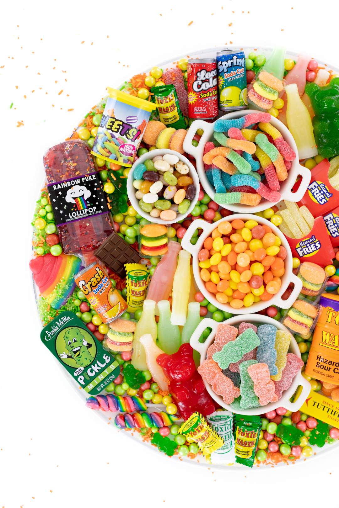 gag candy and pranks on a tray
