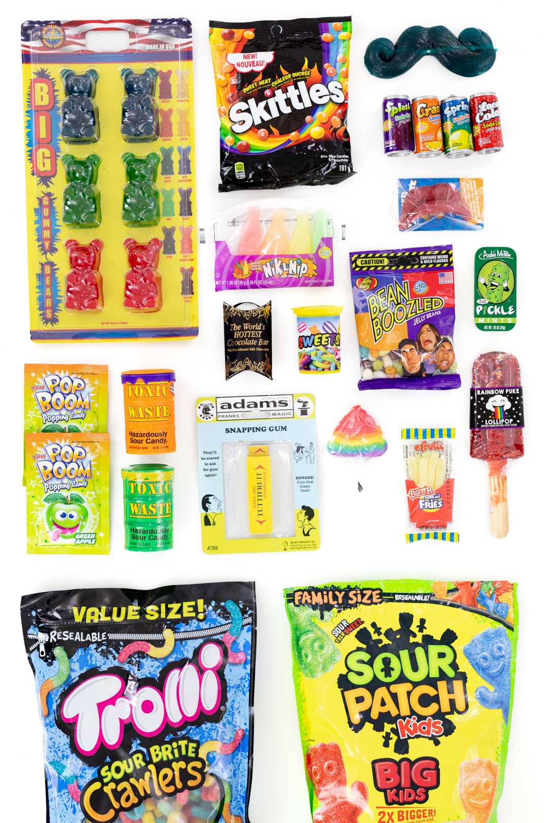candy in packages that are sour, funny and gross.