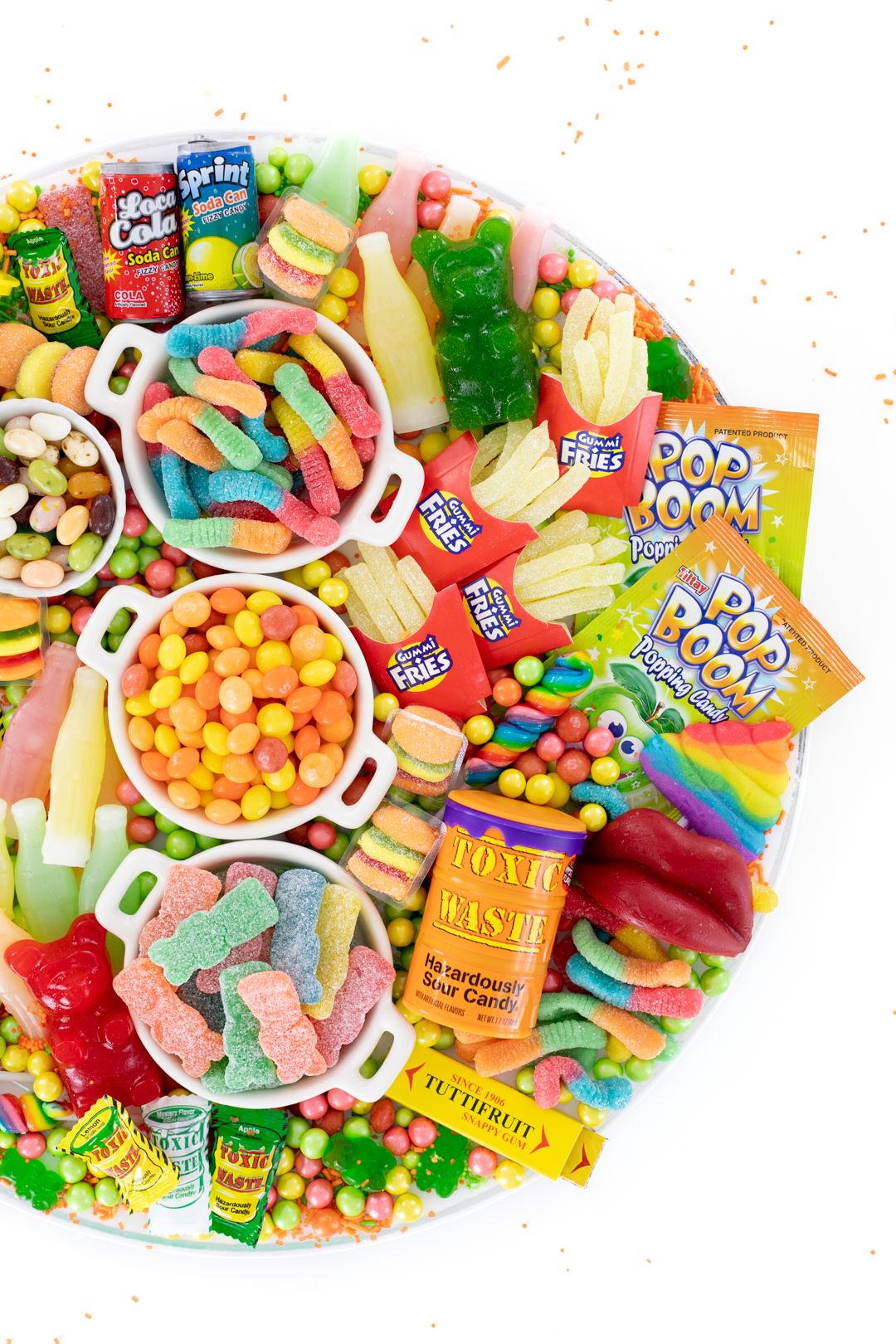 candy board with gummy worms and big sour patch kids
