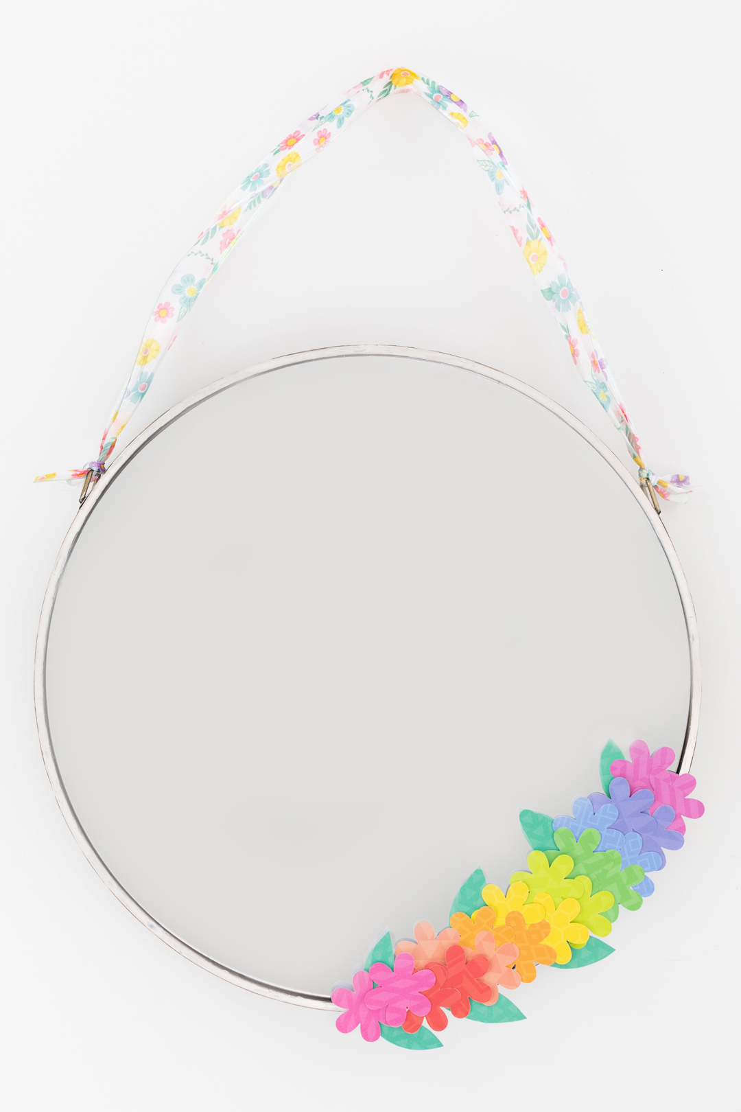 spring mirror craft with paper stationary flowers. floral wreath.