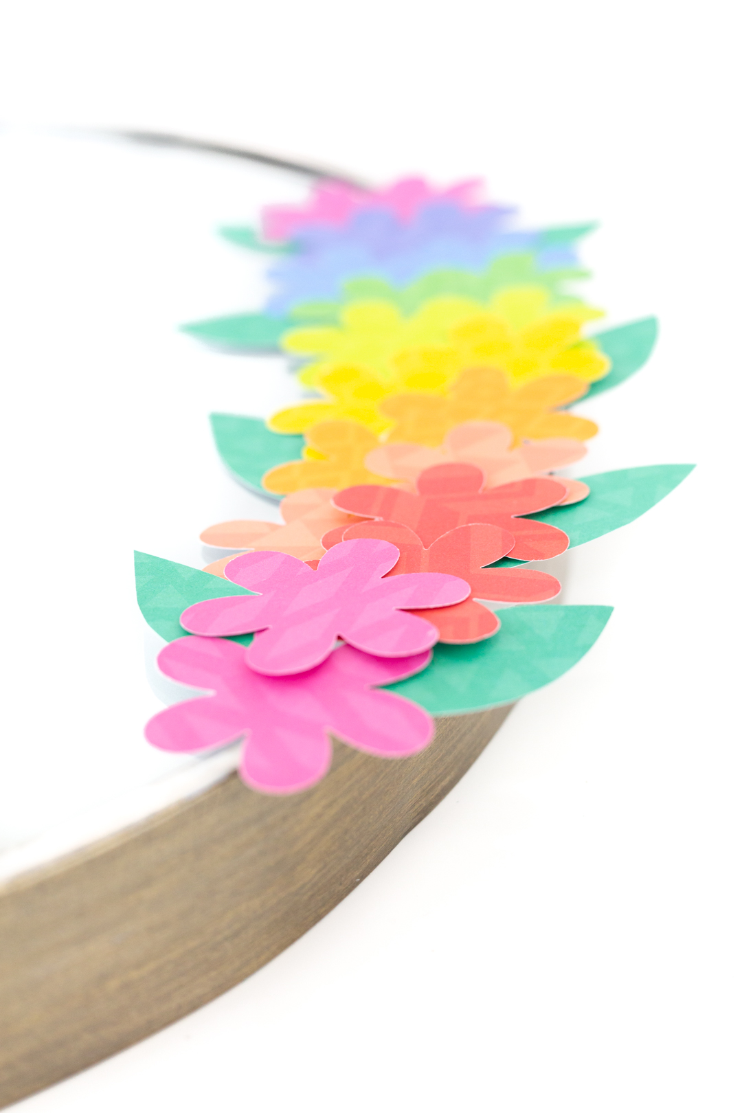 pretty rainbow of paper flowers