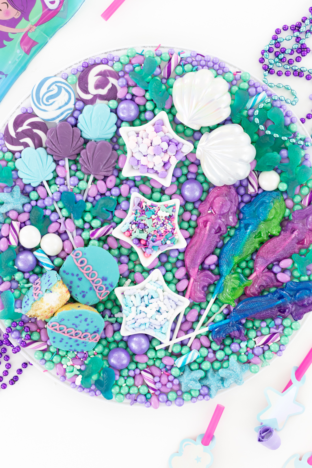 mermaid party tray of candies