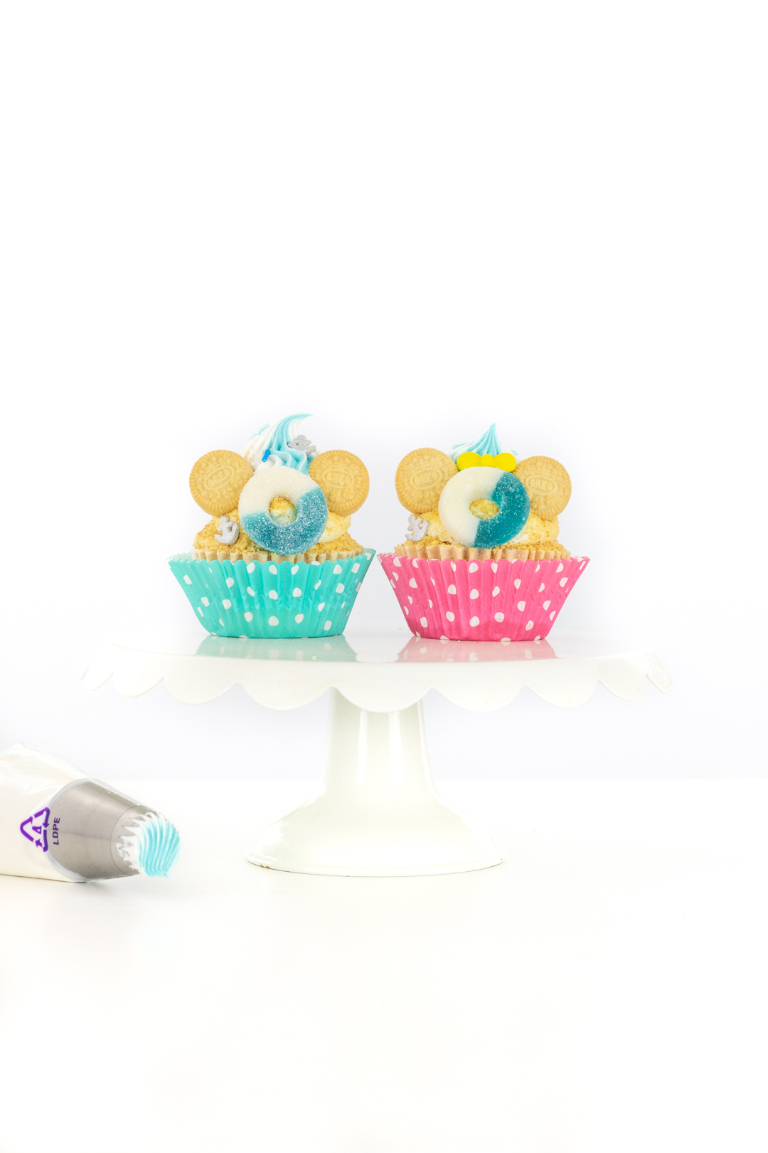 mickey and minnie cruise cupcakes with mini OREO cookies for ears