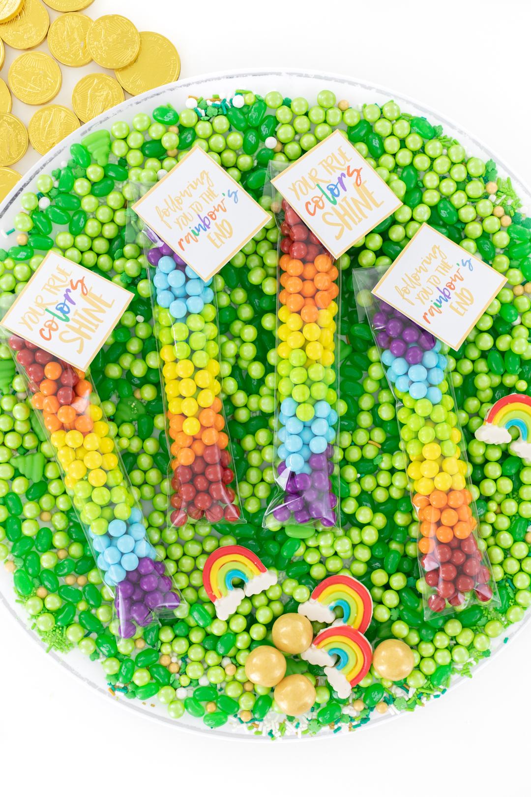 pretty rainbow treat baggies