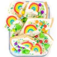 rainbow colored bark with big rainbow gummy candies