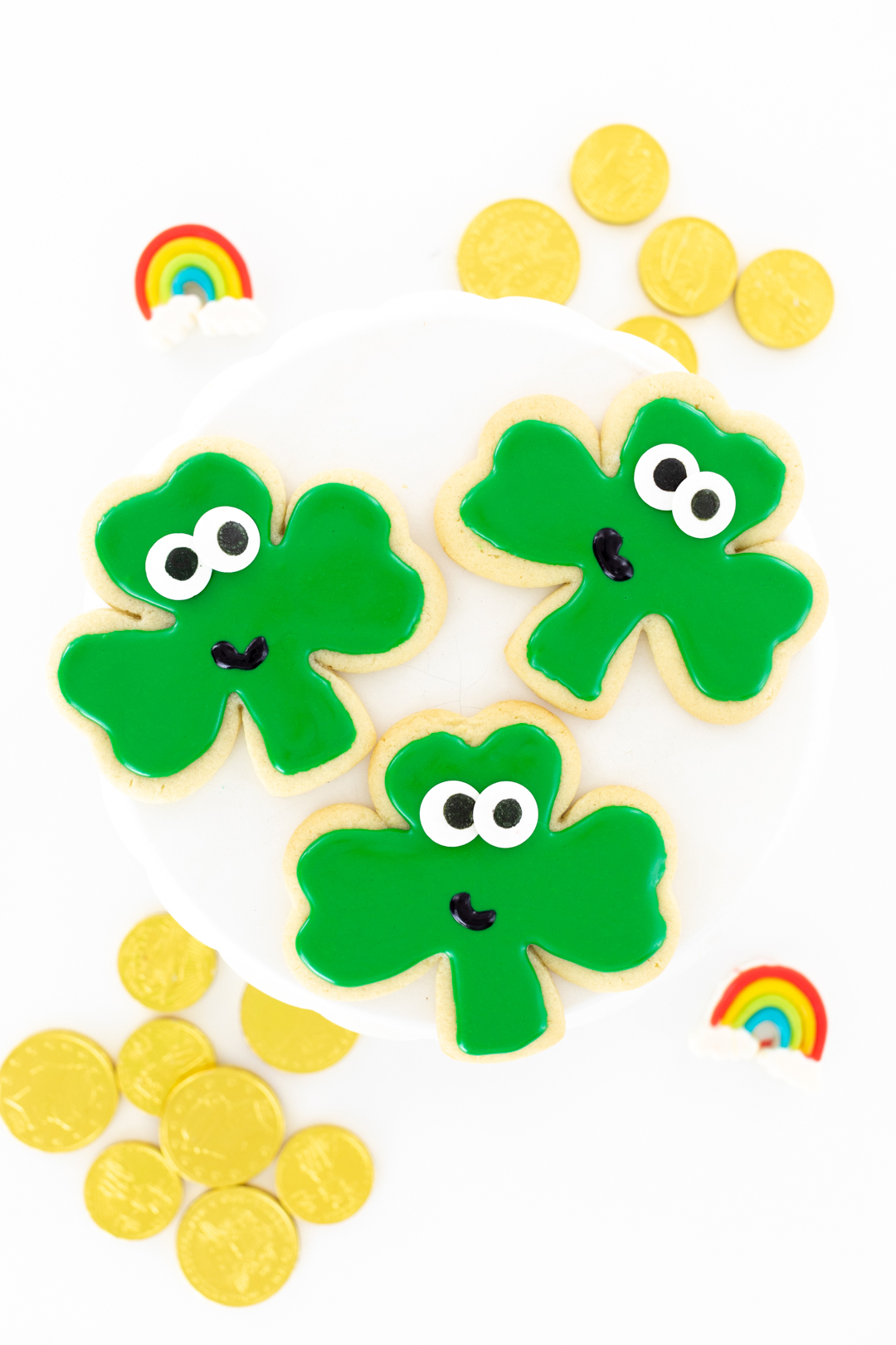 cutest shamrock cookies with big eyes