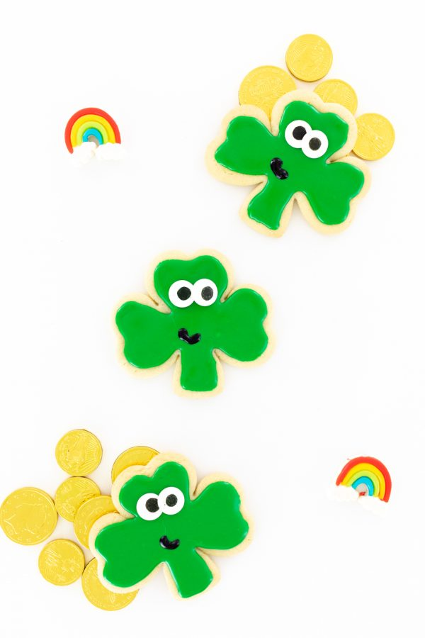 st. patrick's day cookies, chocolate gold coins and rainbow gummies