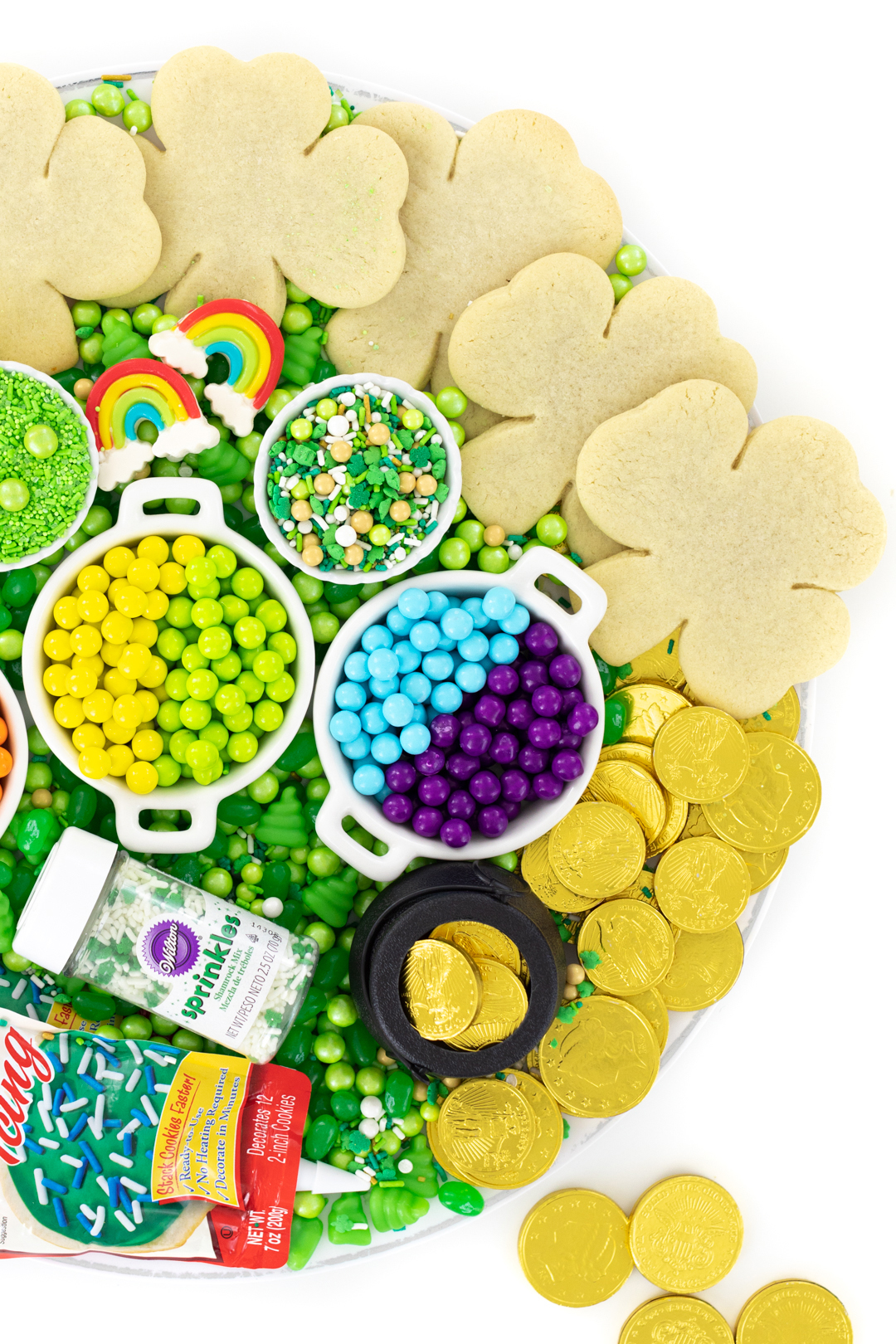 fun rainbow dessert tray for st. patrick's day
