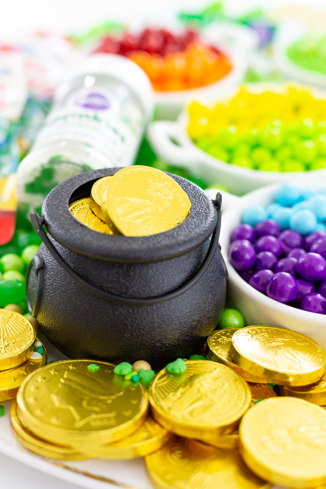 mini pot of gold with chocolate gold coins