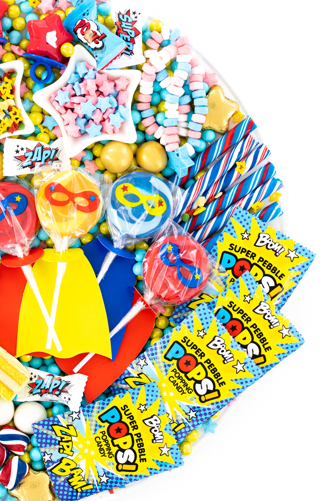 superhero lollipops with capes and superhero popping candy
