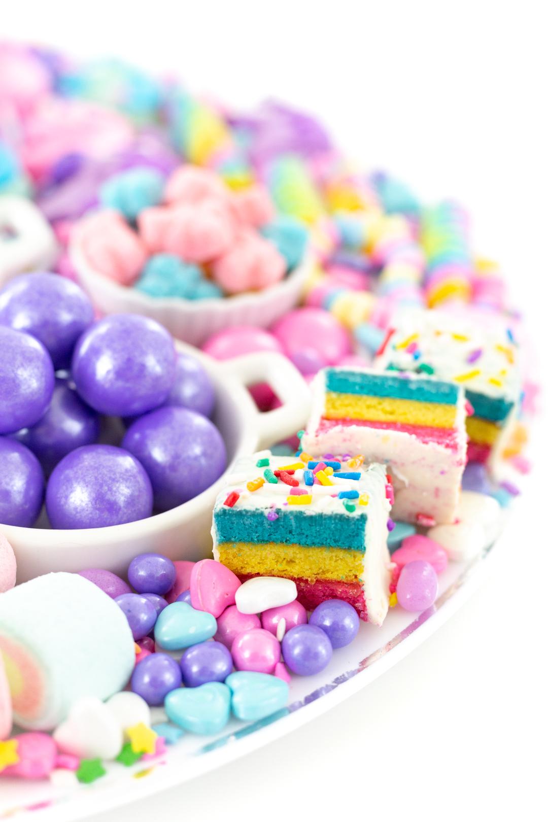 purple gumballs, pastel cake bites and patel candies