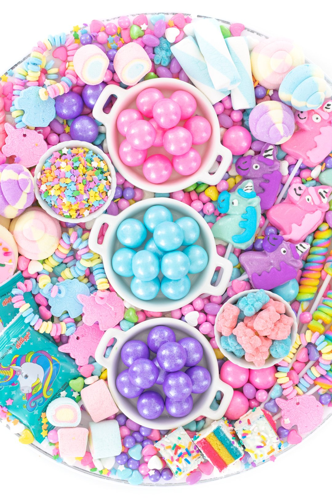 unicorn candies on a tray for parties