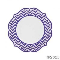 Purple Chevron Scalloped Paper Dinner Plates - 8 Ct.