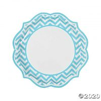 Light Blue Chevron Scalloped Paper Dinner Plates - 8 Ct.