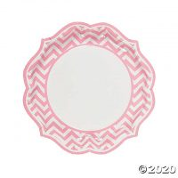 Light Pink Chevron Scalloped Paper Dinner Plates - 8 Ct.