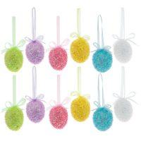 Bright Flocked Egg Ornaments