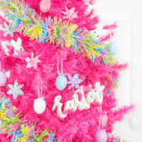 bright pink easter tree with pastel decorations