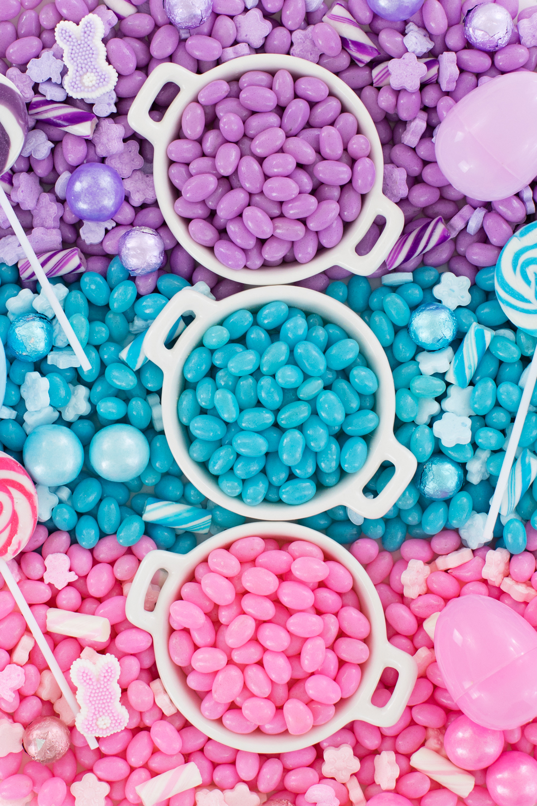 purple, blue and pink bean candy tray for Easter