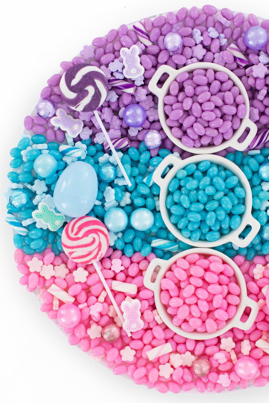 pretty pastel candy board with purple, blue and pink