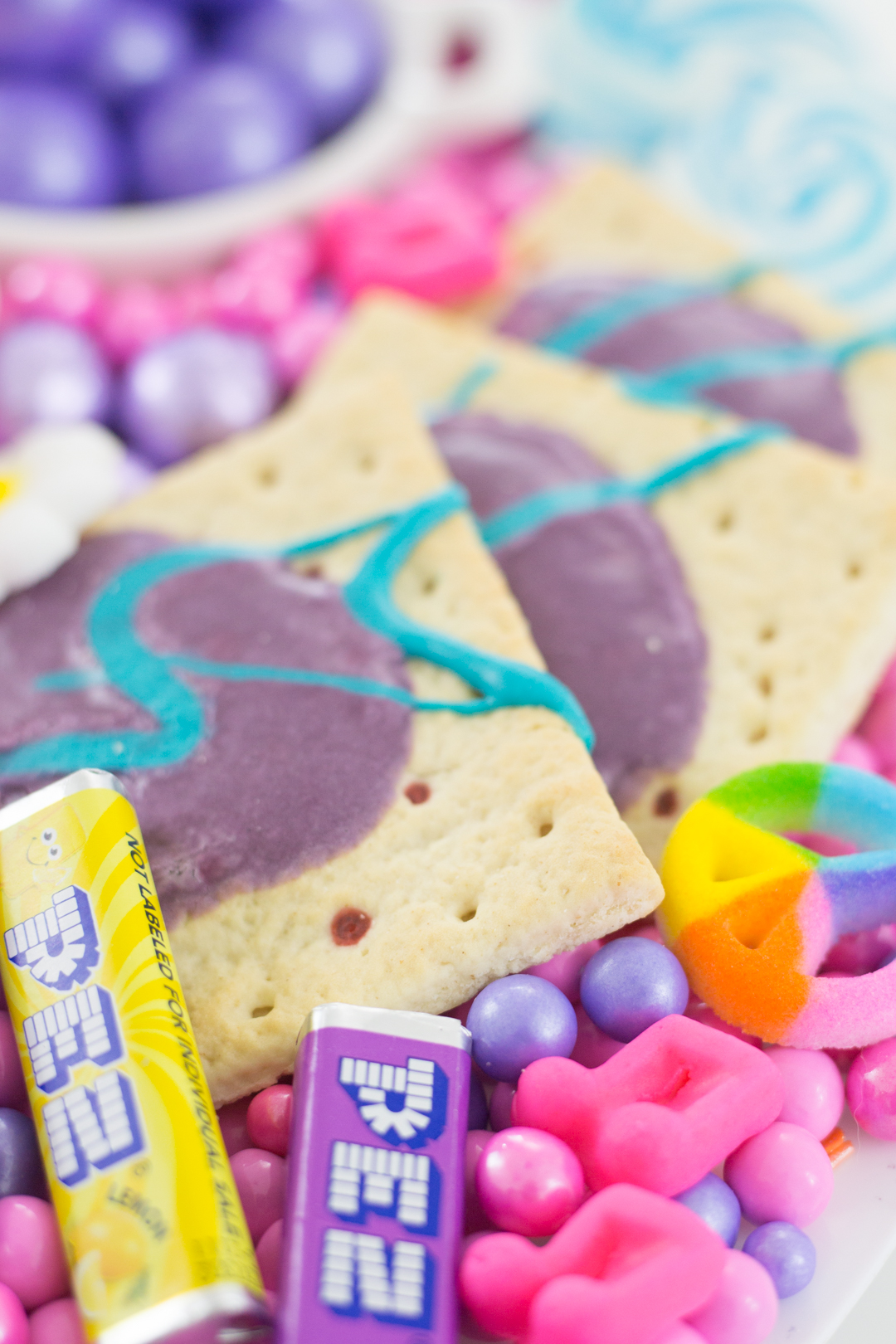 colorful pop tarts, peace sign candy, pez candy