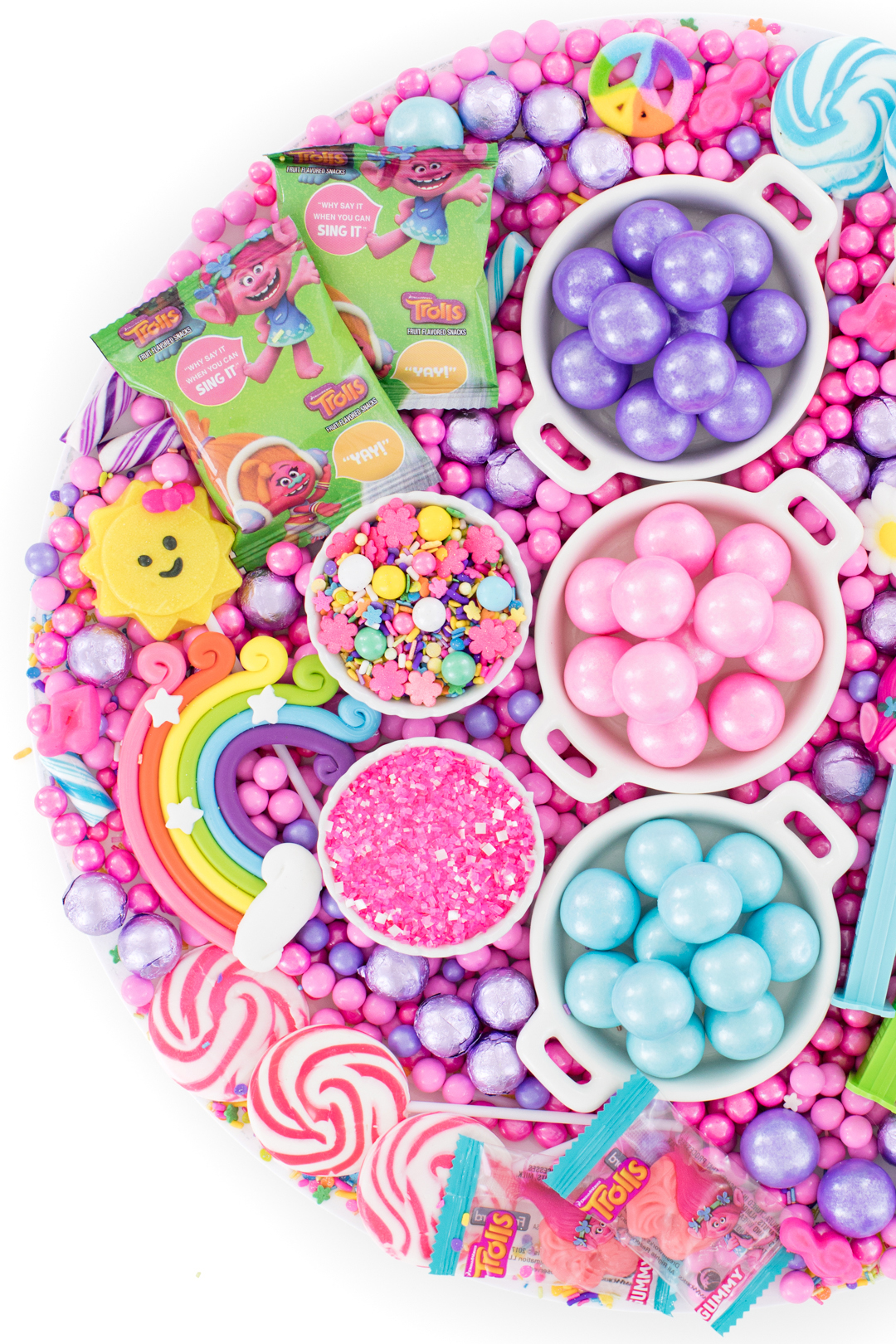 trolls party candy ideas. colorful tray of candies that match trolls characters