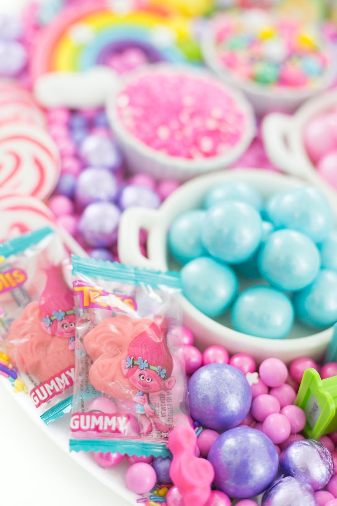 Trolls pinata candy on a tray