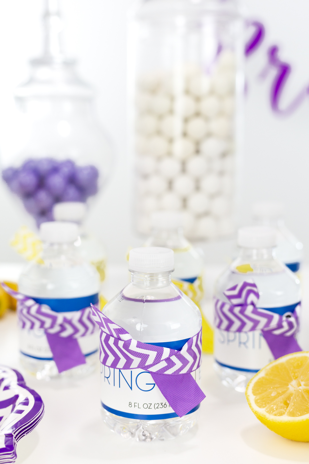 decorated mini bottles of water