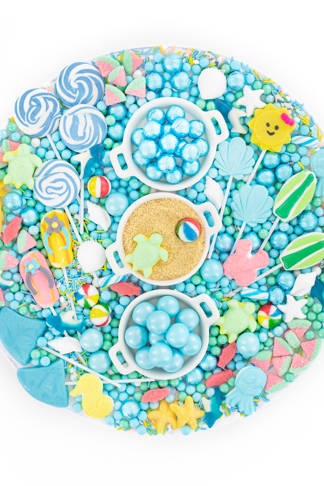 beach themed party tray filled with cool candy