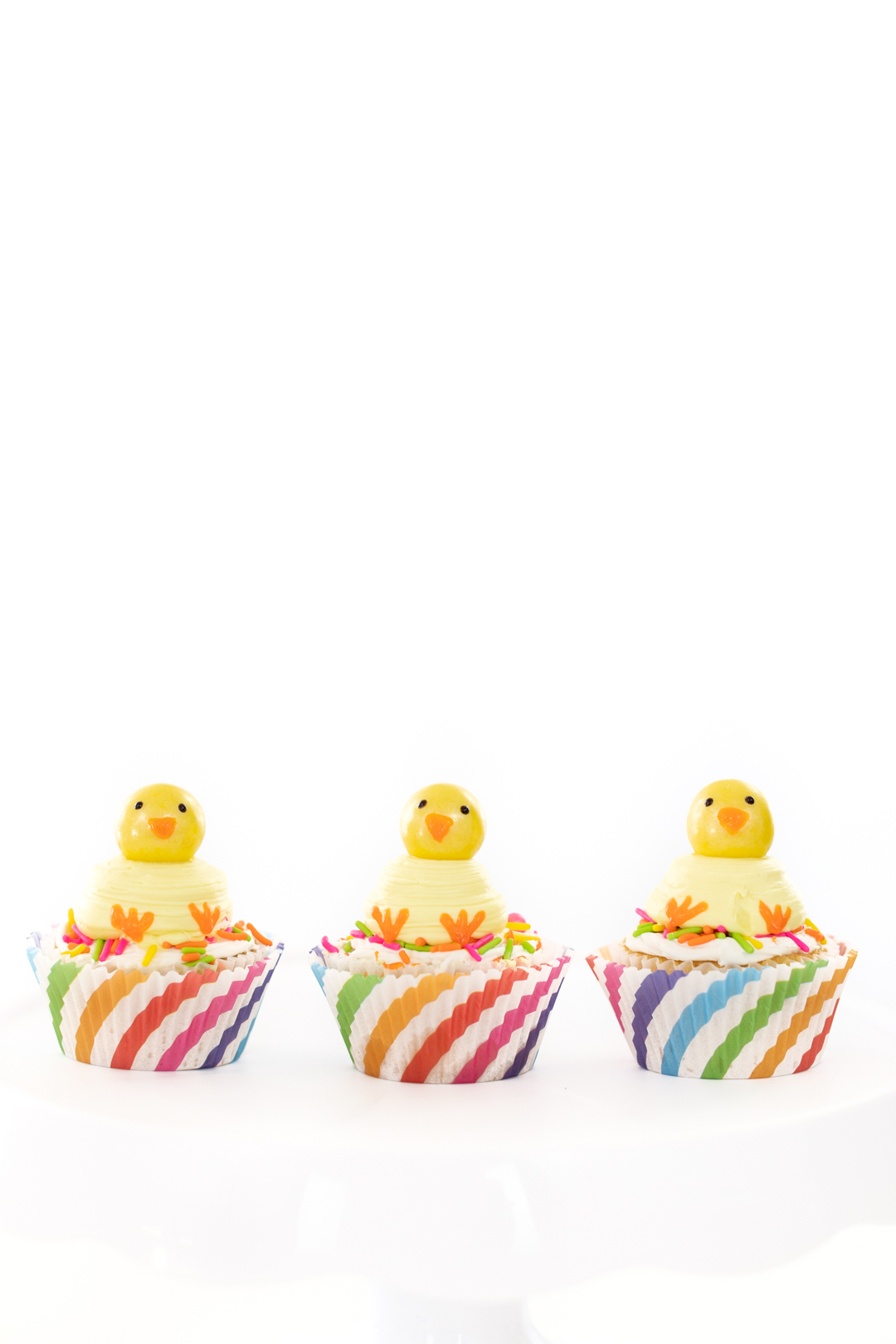 three easter chick cupcakes