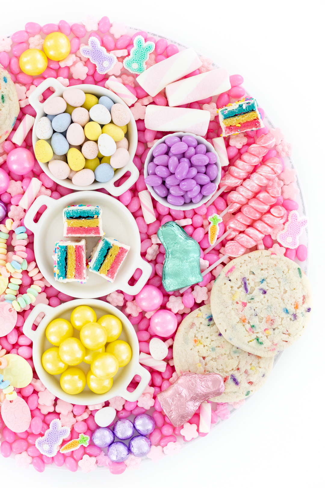 pretty pastel easter candy treat board
