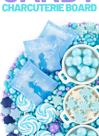 Winter princess candy charcuterie board ideas. Pretty blue and purple candies for Frozen parties.