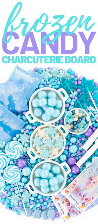 Candy Charcuterie Board for Frozen Movie 1 and 2. Pretty snowflake gummies, Olaf Pez and more.