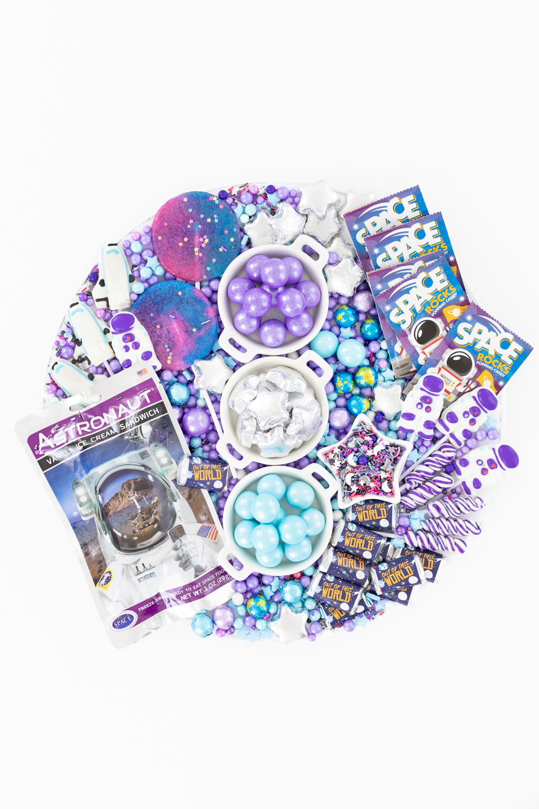 galaxy candy charcuterie board, blue, purple and silver