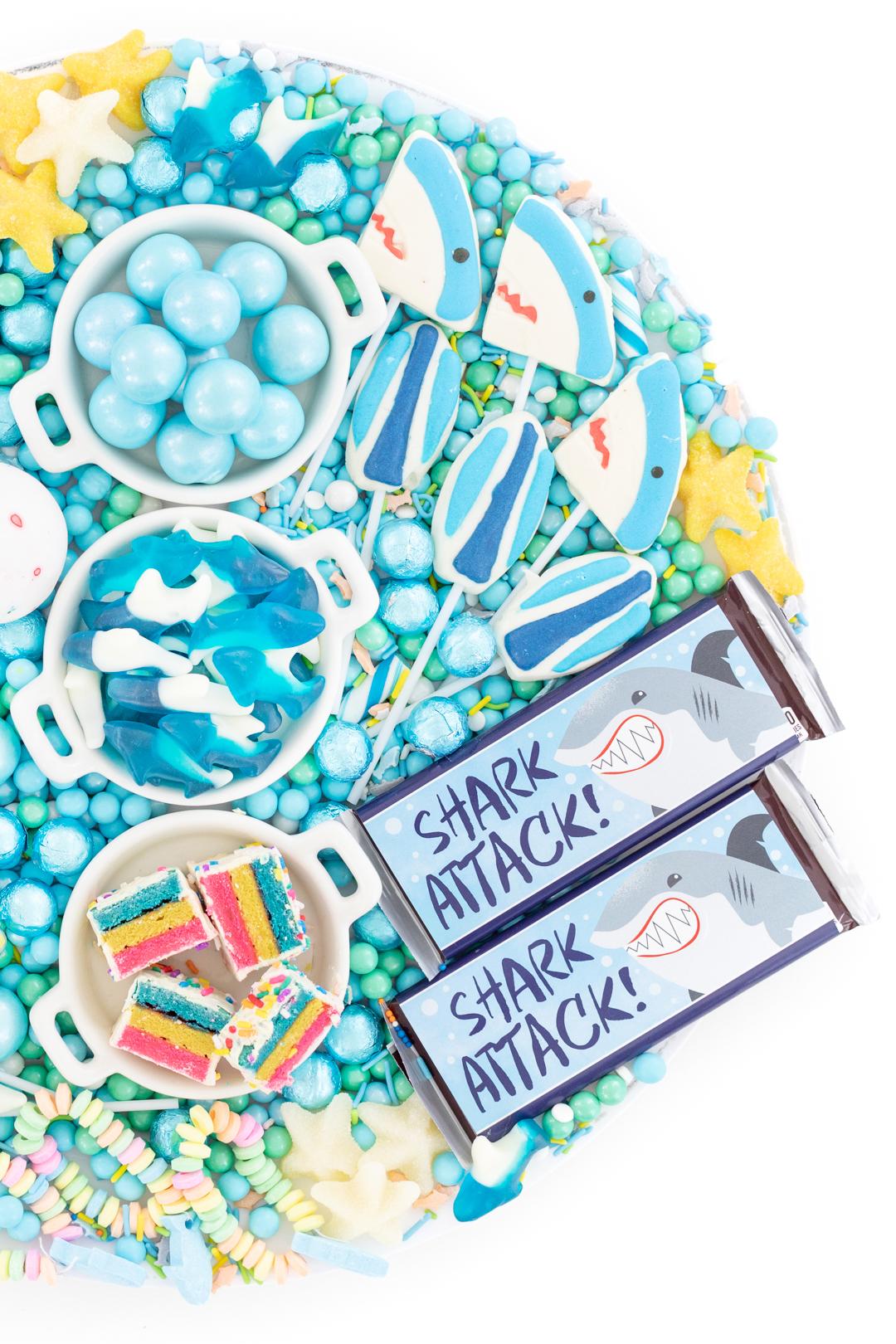 shark candy platter
