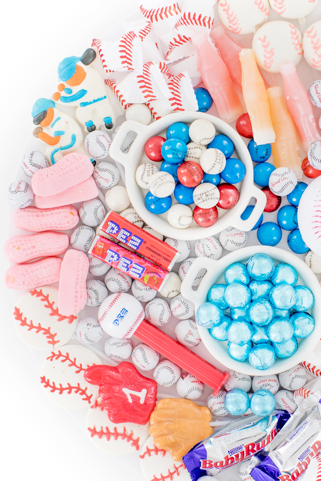 baseball party candy tray