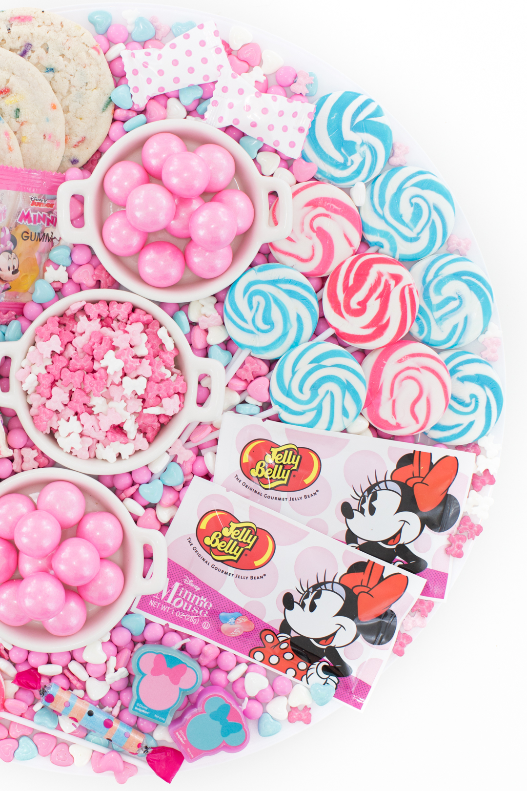 spread of pretty minnie mouse inspired candies for parties
