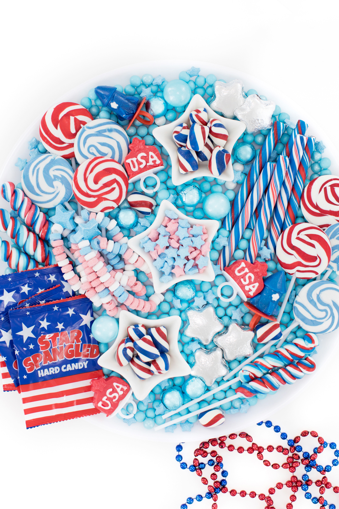 Pretty spread of patriotic candies on a tray. Perfect for parties.