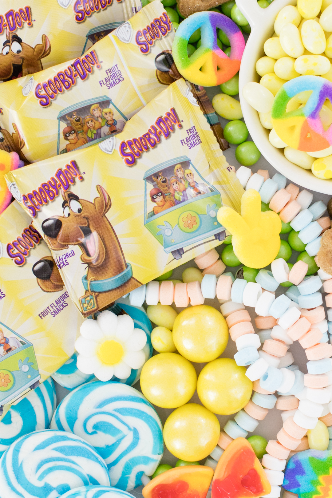 Scooby Fruit Snacks Packages and peace sign candy