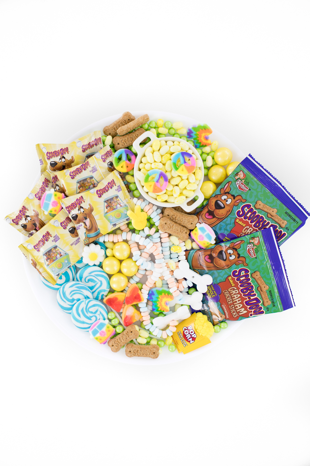 candy tray with Scooby Doo snacks